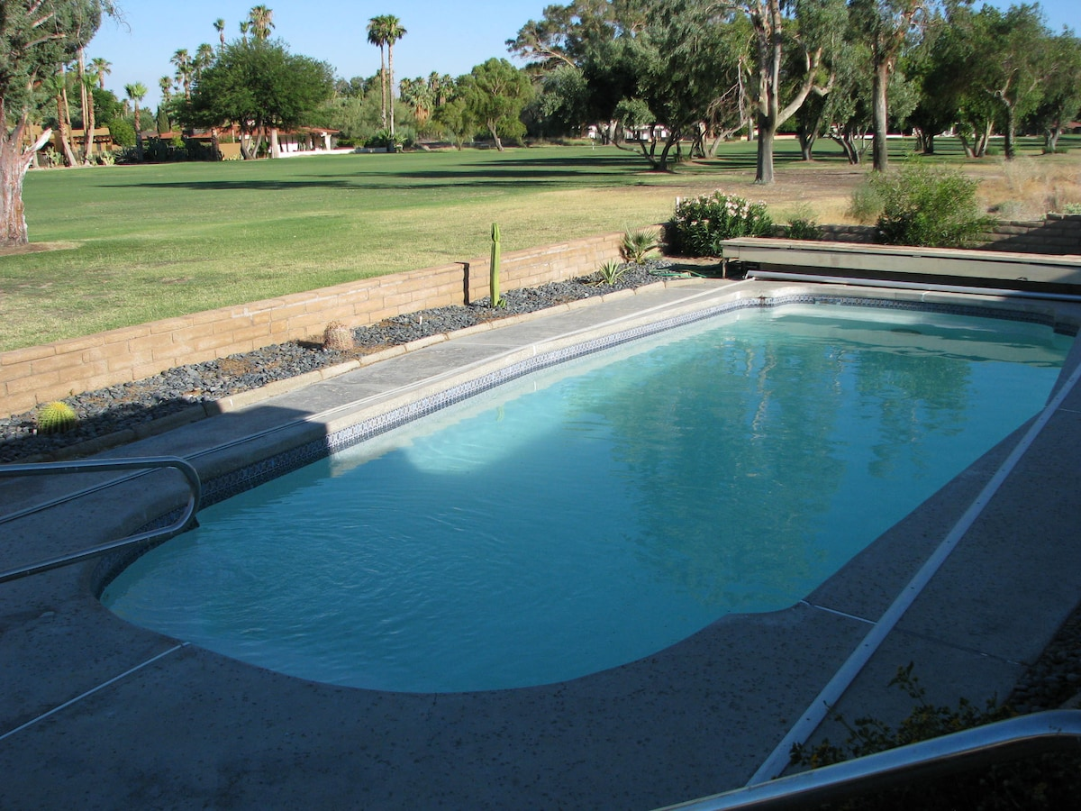 Our pool with the 14th fariway of DeAnza Country Club in the background