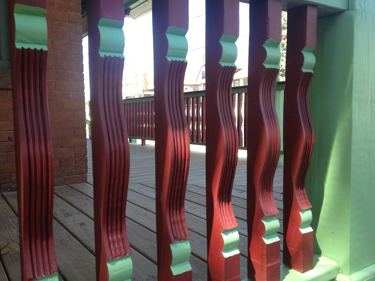 Ornamental  spindles on the front porch