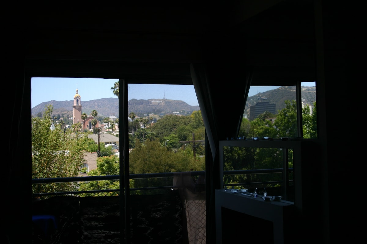 View from living area of the Hollywood sites and landmarks, the sign, buildings, etc.