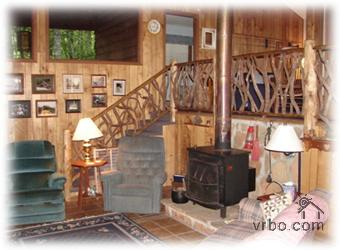Wood burning fireplace and rustic railing