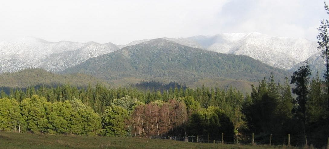 Kahurangi National Park in winter - view from the house