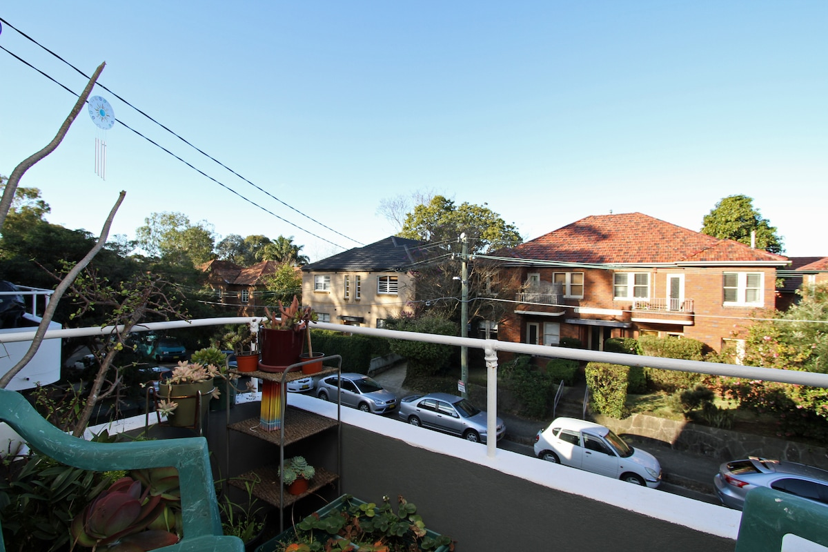 Balcony overlooking my quiet street