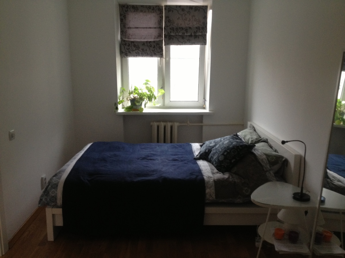 the bed in the bedroom