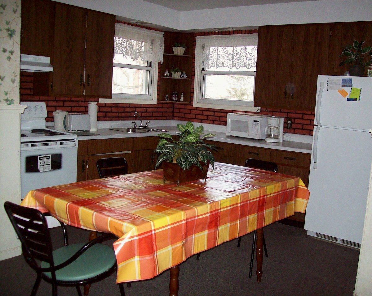 """CORNER VIEW of the """"EAT IN"""" KITCHEN, with BRAND NEW STOVE, HUGE TABLE (71 inches long)"""