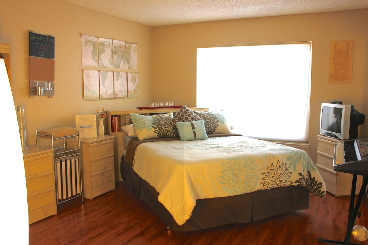 Newly purchased Queen size bed, along with comfortable pillows and a new bed set for extra comfort