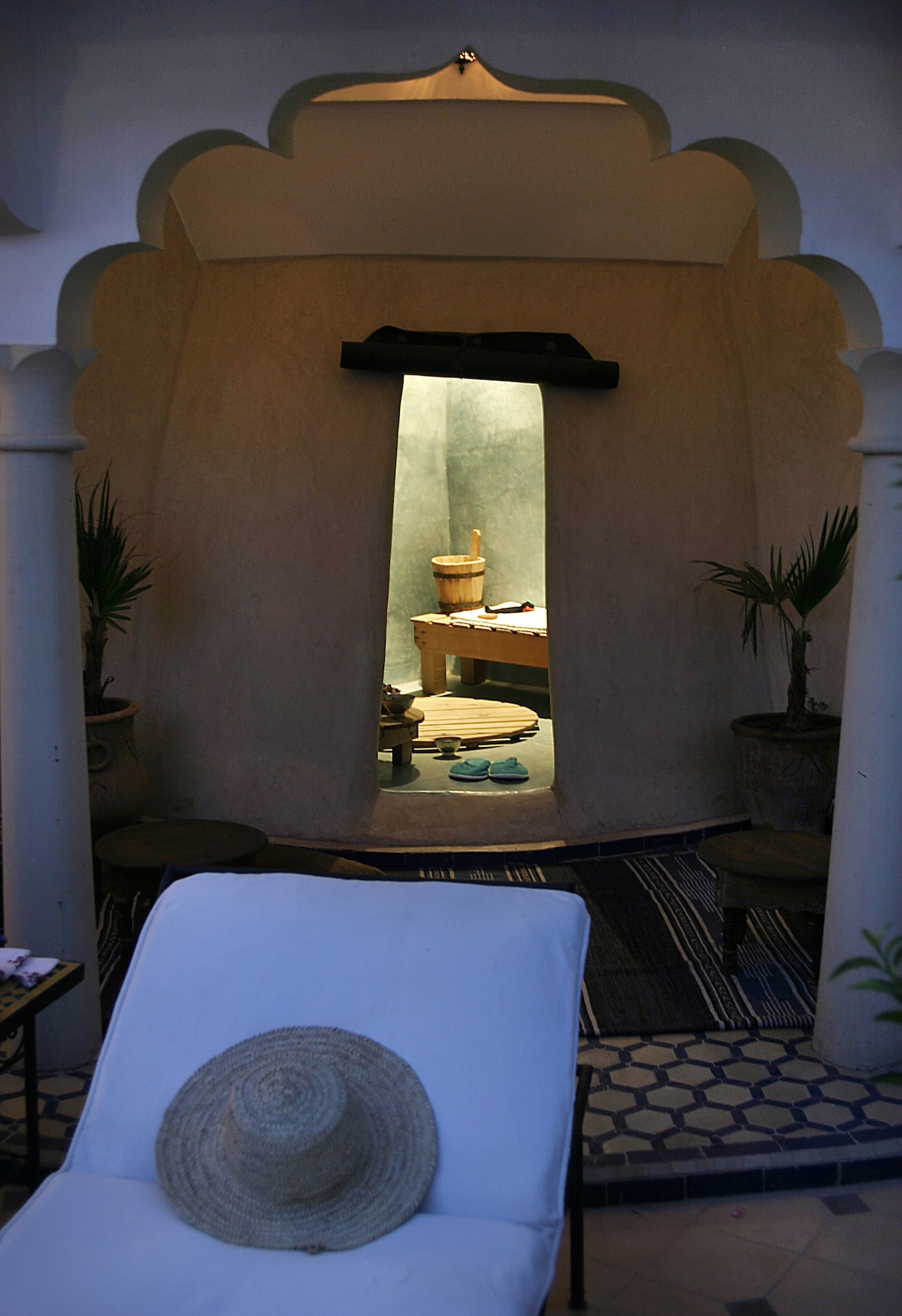 Traditional hammam by nighton terrace level