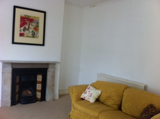 Chagall litho and Victorian fireplace and sofa bed