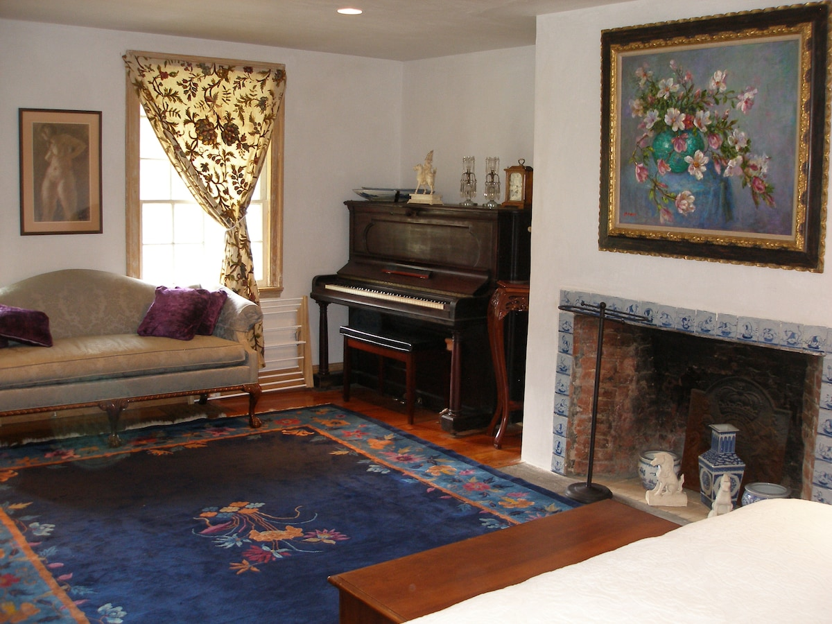 Piano room, view of sitting area from bed.