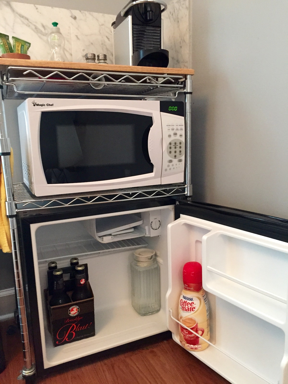 Mini fridge with a few essentials included.