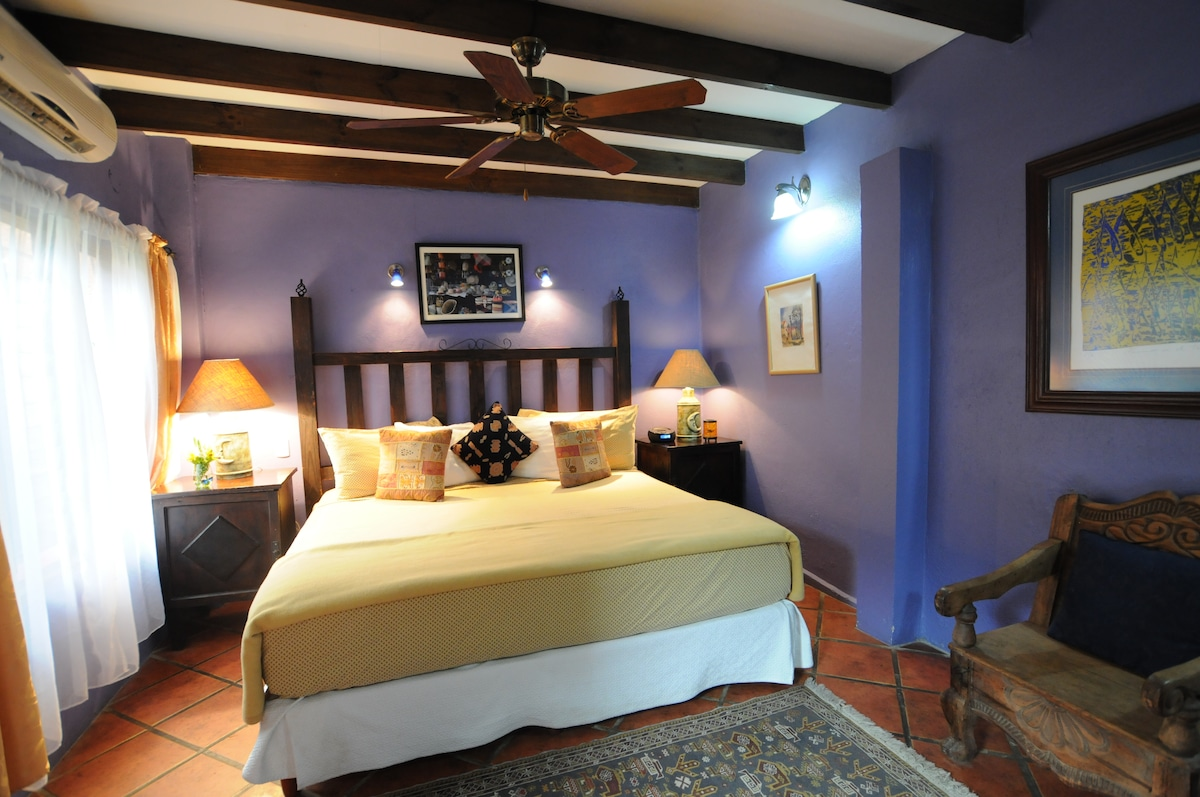 Heliconia Room is located on the main floor in the garden. Warm blue colors and King bed adorns this room.