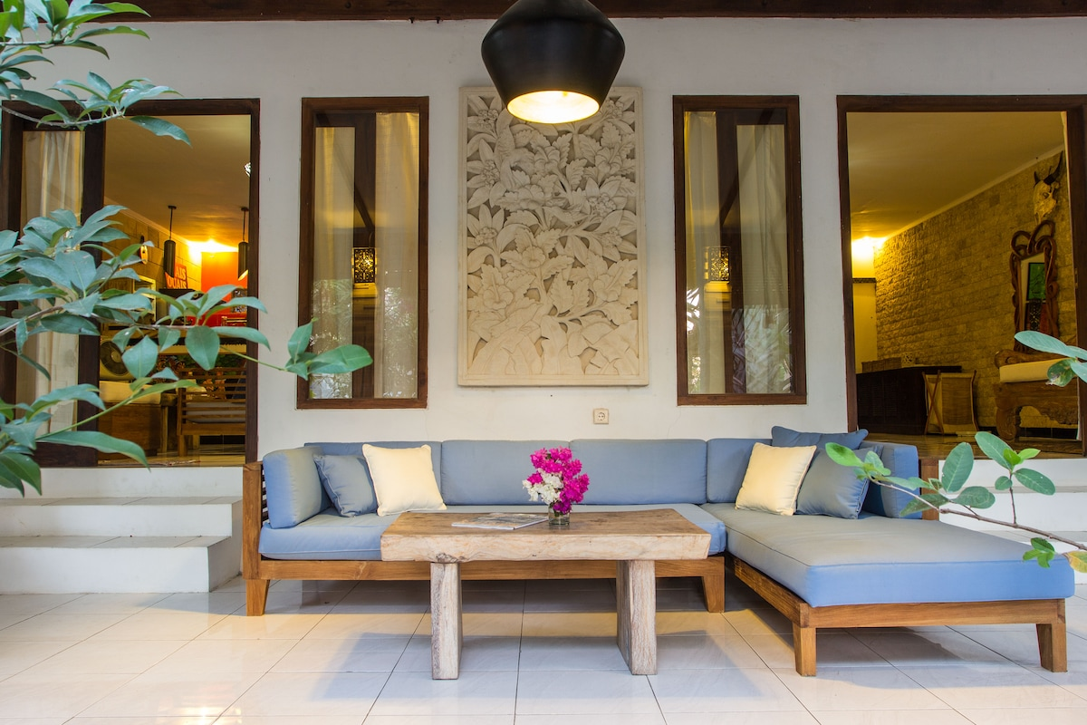 The terrace is fully furnished with high quality teak wood.