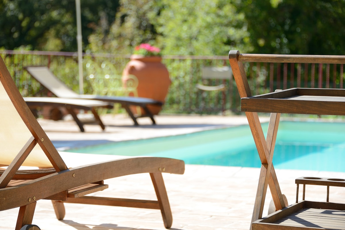 The terrace surrounding the pool is large and well furnished.