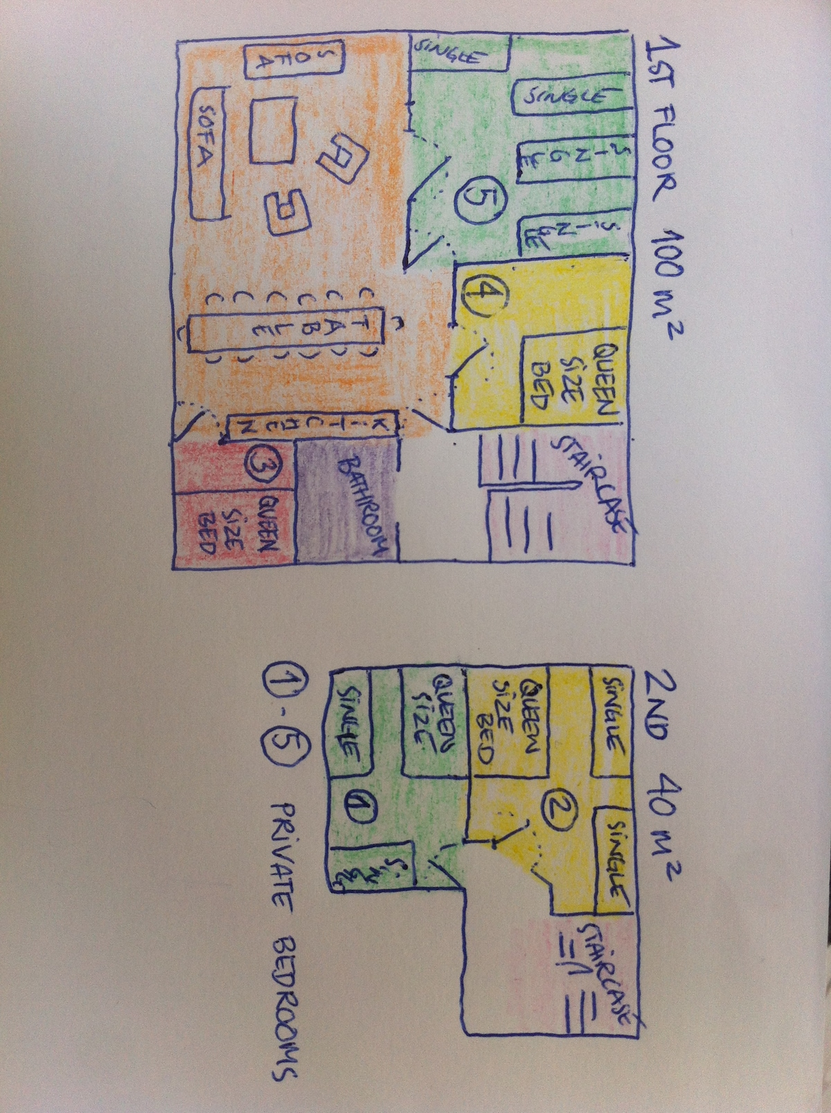 Floor plan - please let me know which beds in room 1-5 to prepare for you! 1 single bed extra is possible.