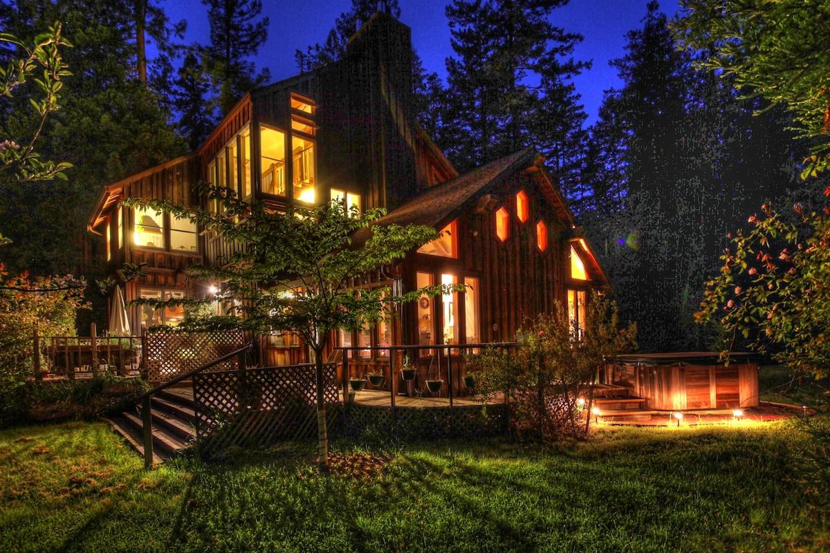 House and hot tub at night