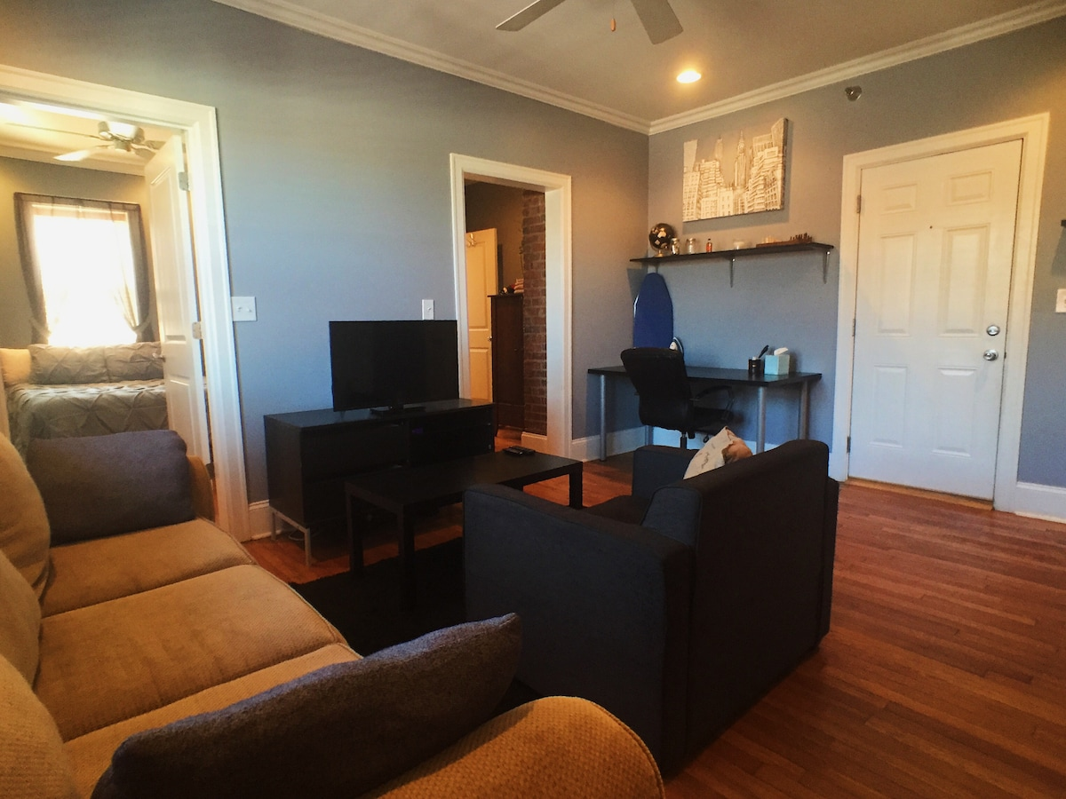 """Large Living room with 30"""" TV, Roku (Netflix, HBOGo, Hulu+), Large Desk, Comfortable Couch, Chair, and baseboard heating, overhead fan."""