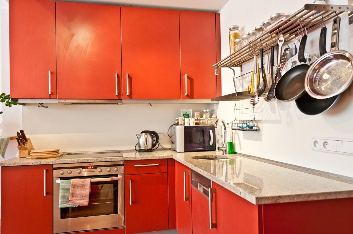 kitchen corner with AEG appliances (dish washer, stove, fridge, etc.)