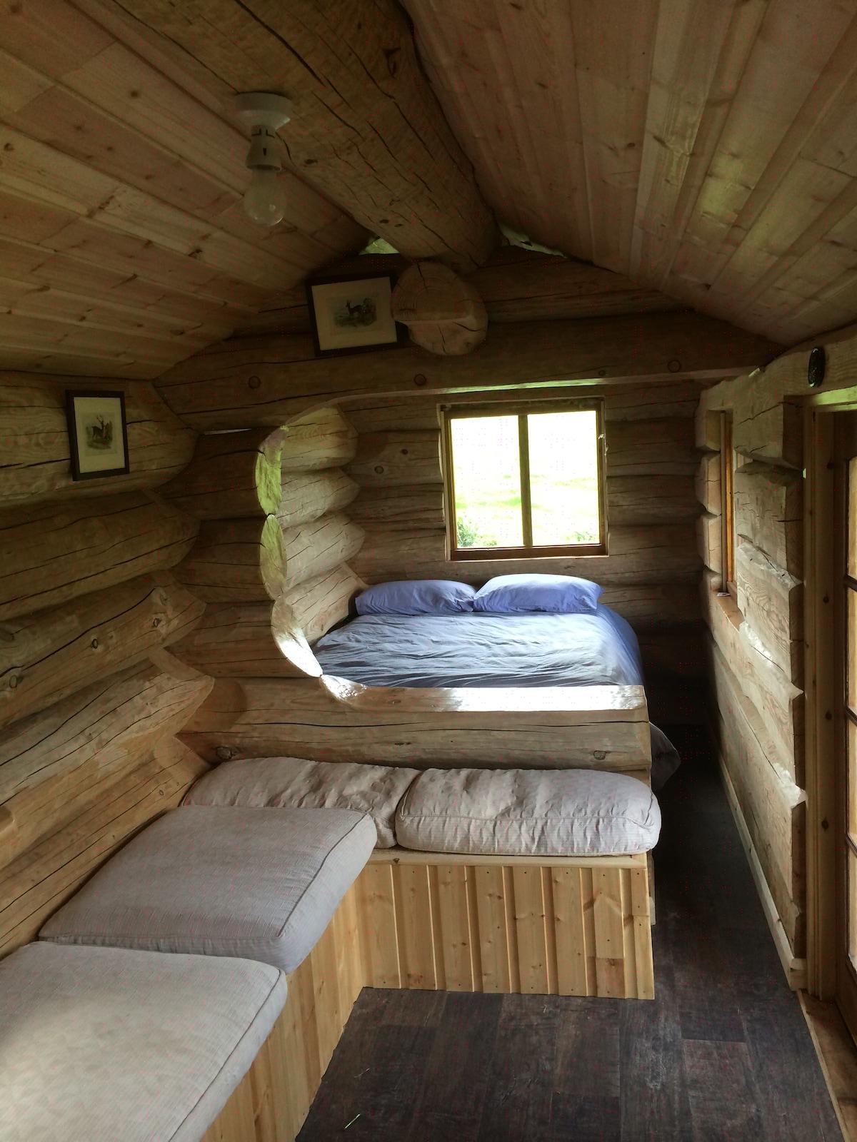 log cabin glamping