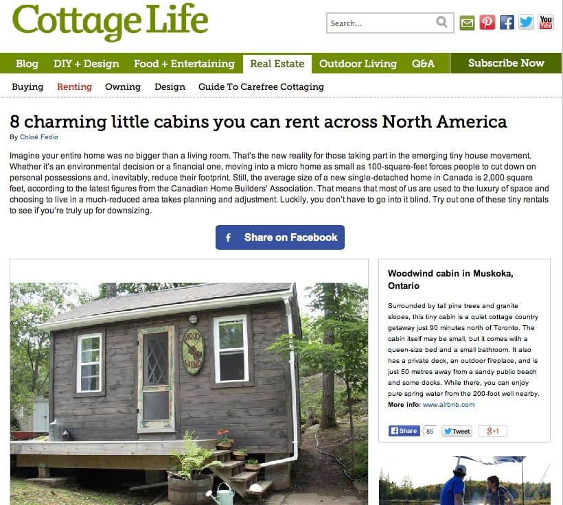 A wonderful article from Cottage Life, on Woodwind highlighting tiny spaces.
