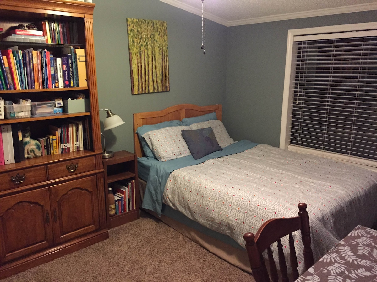 your bedroom from the door. desk on the right, closet to the left.