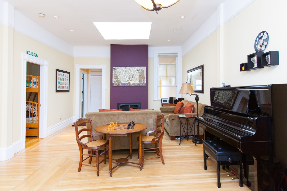 Spacious living room with vintage chess table