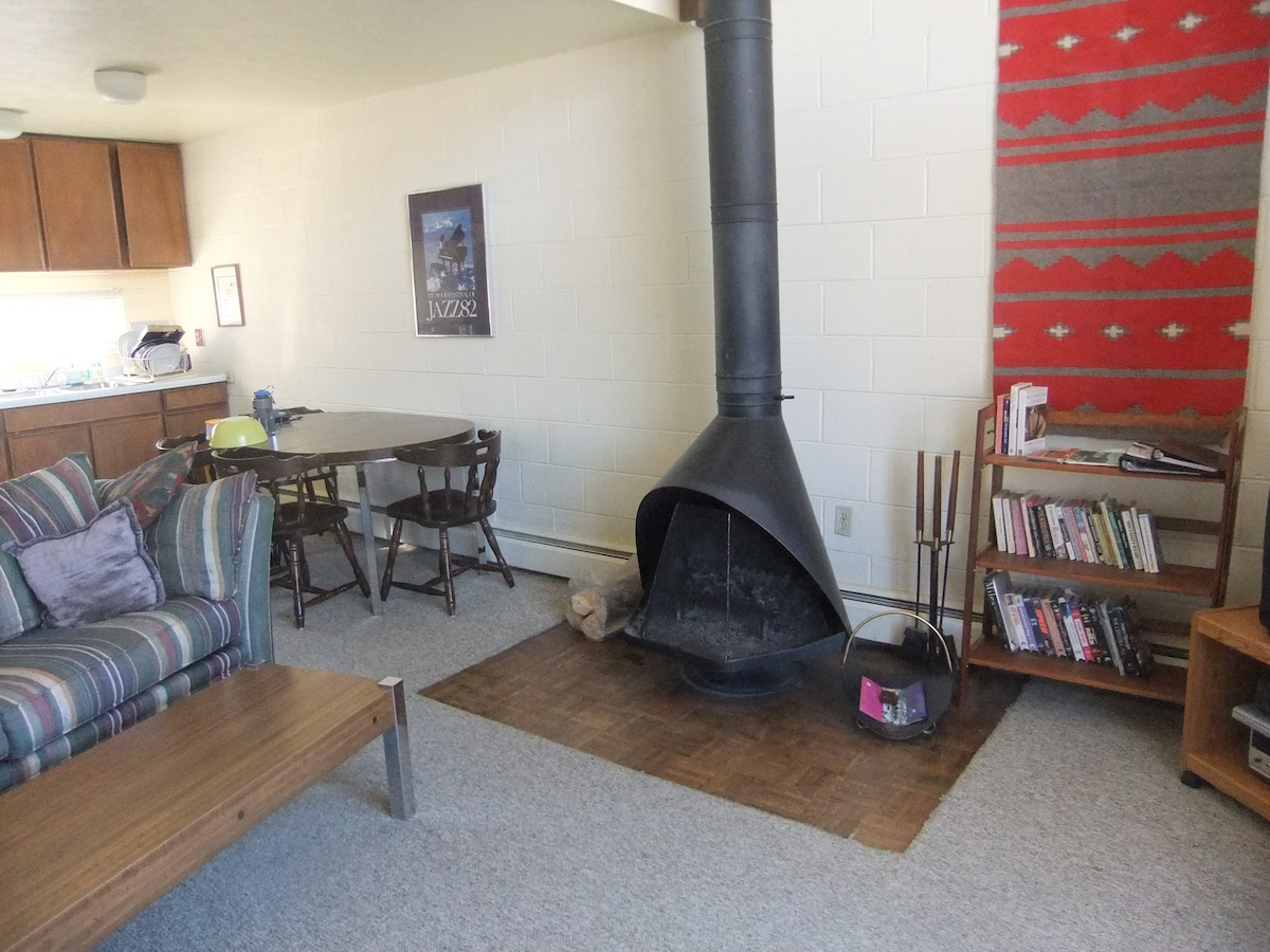 Main room (note fireplace is decorative only and can't be used for fires)