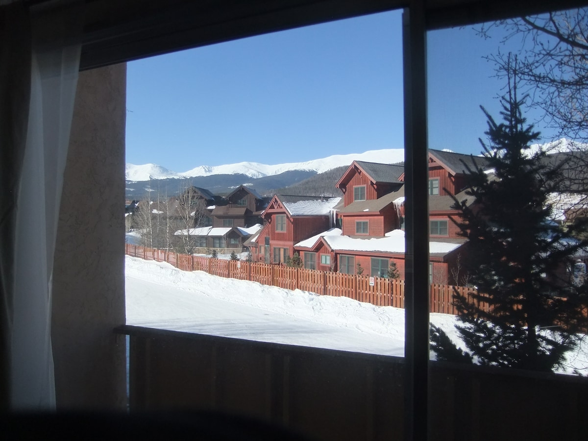 View out sliding glass doors in main room