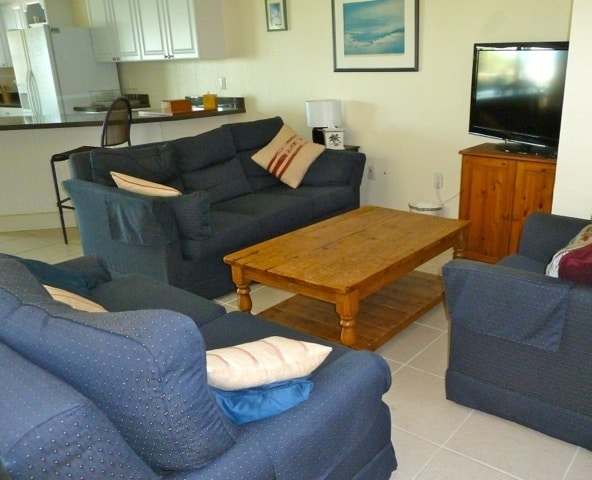 Comfortable lounge with two sofas and overstuffed chair