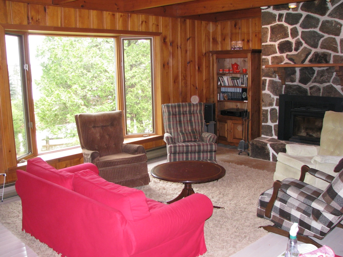 living room - lake view and fireplace