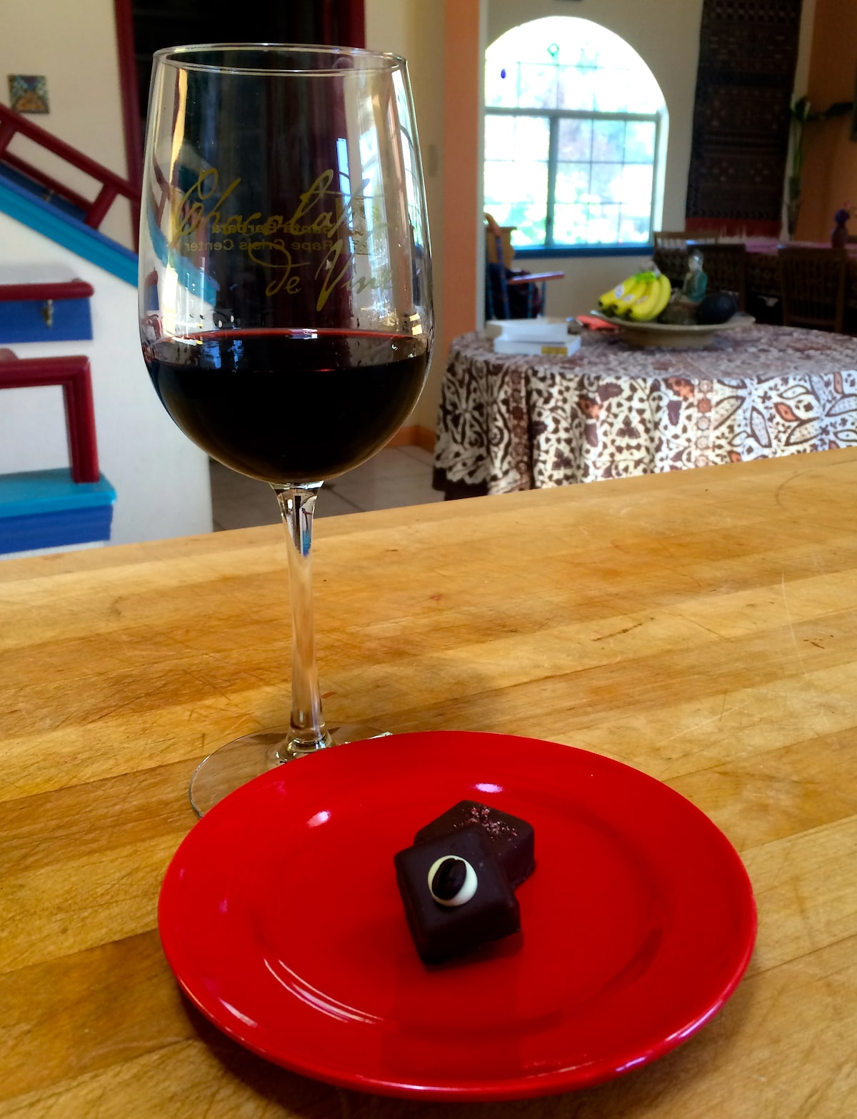 Raspberry and Cafe au Lait truffles paired with a fine port.