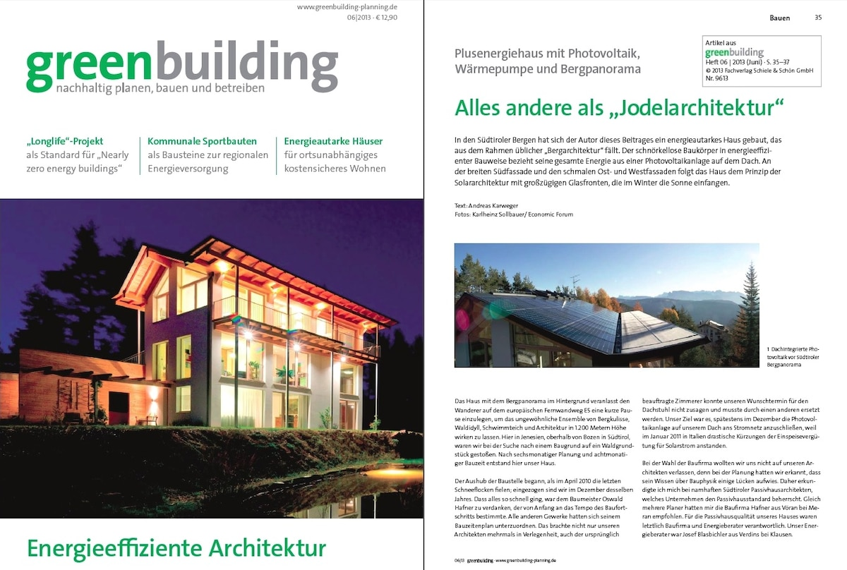 """our house on the cover page of the """"greenbuilding"""" magazine"""