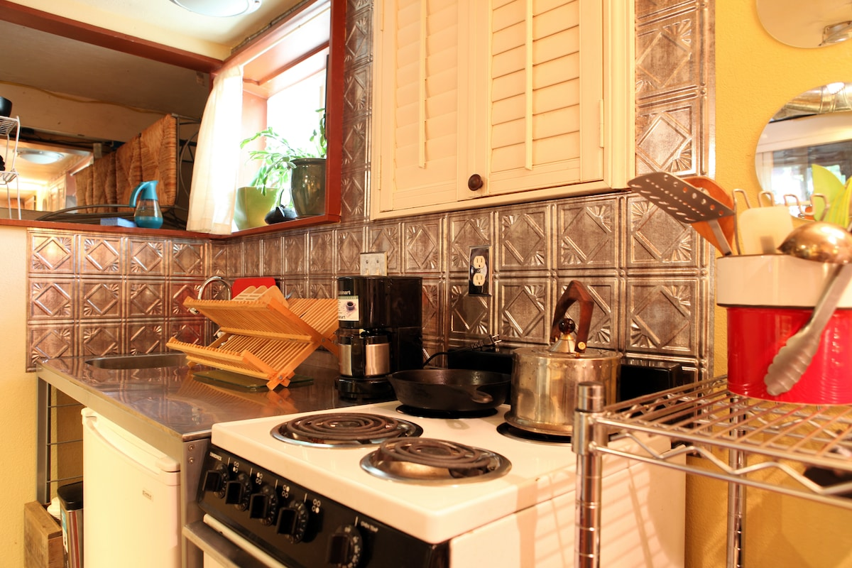 Kitchen is fully equipped and ready for you.
