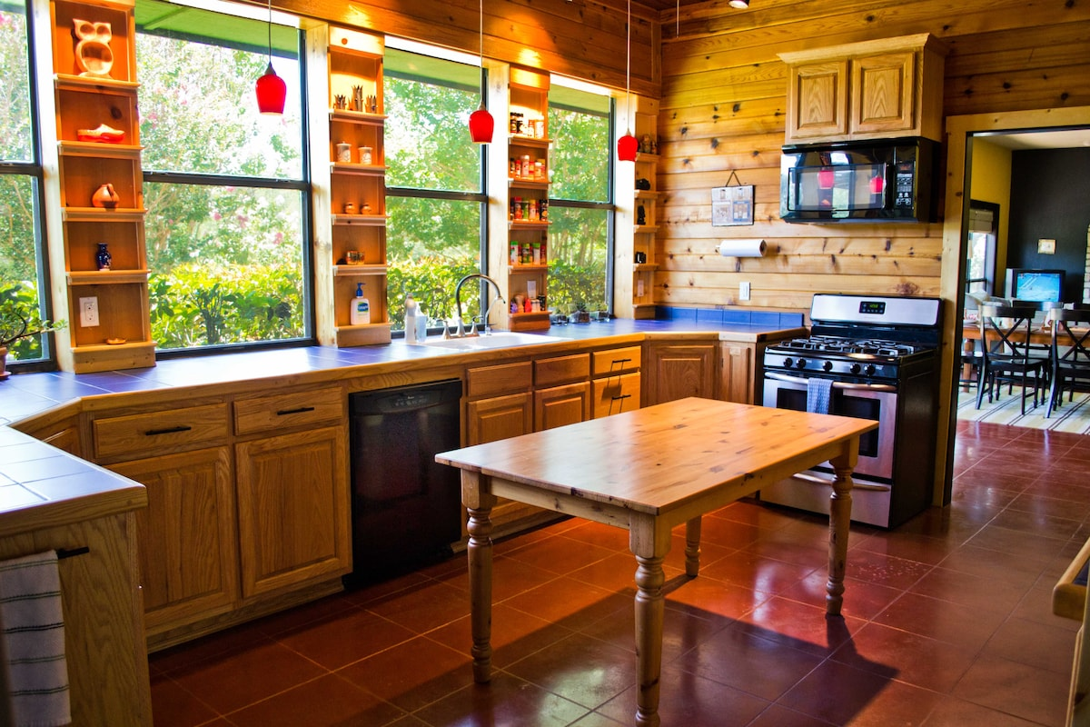 The custom kitchen built by the owner, Gregory, who is a woodworker.