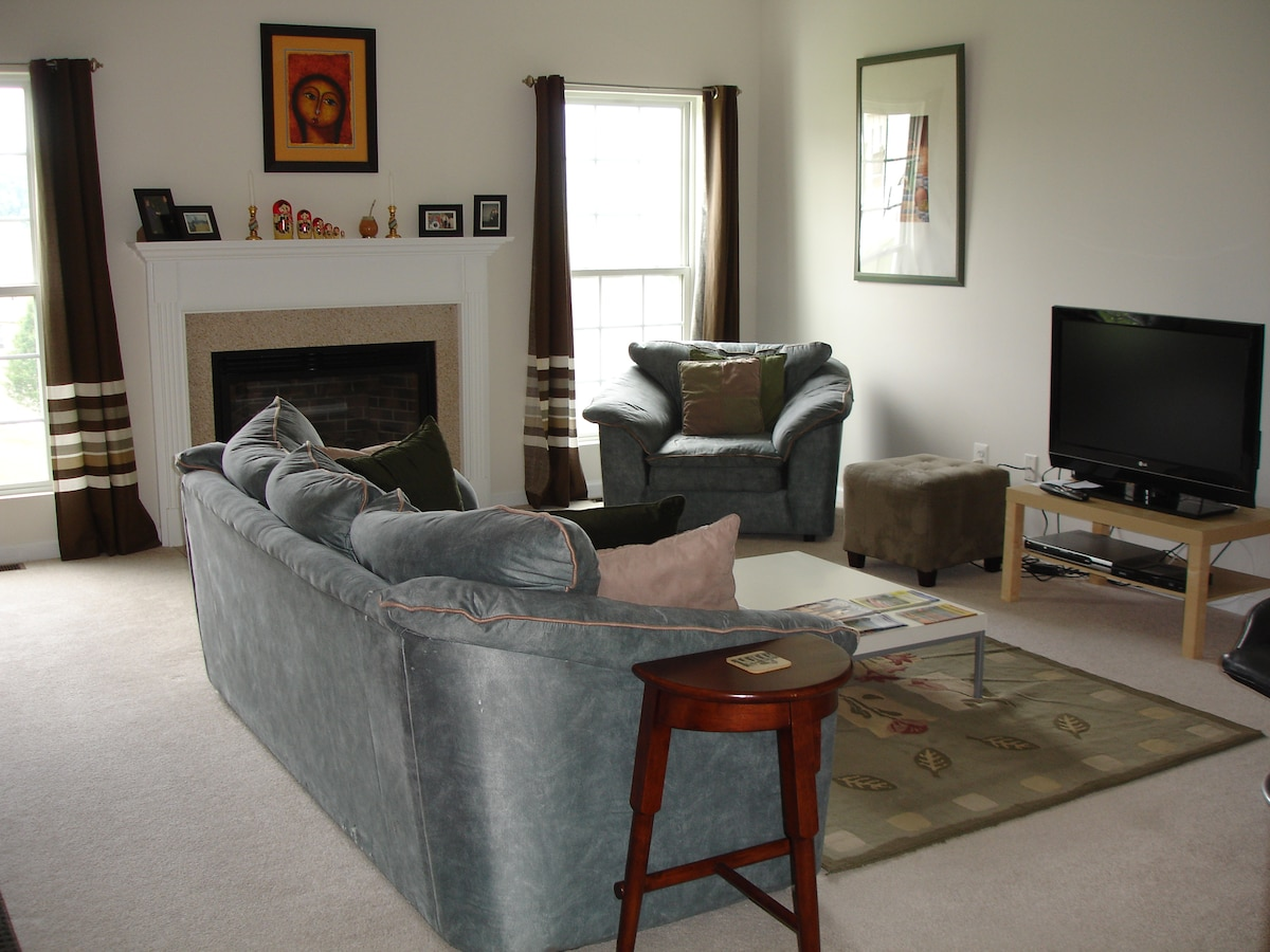 Great Room, flat panel TV, Fireplace.