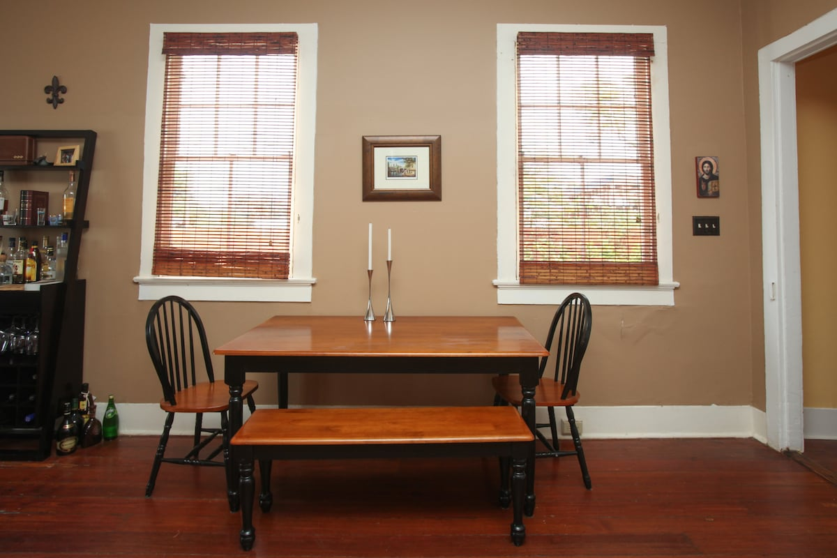 Kitchen table..you can easily pull out with our additional bench to seat 6-8.