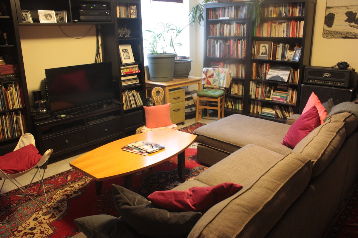 Lower living room with media center