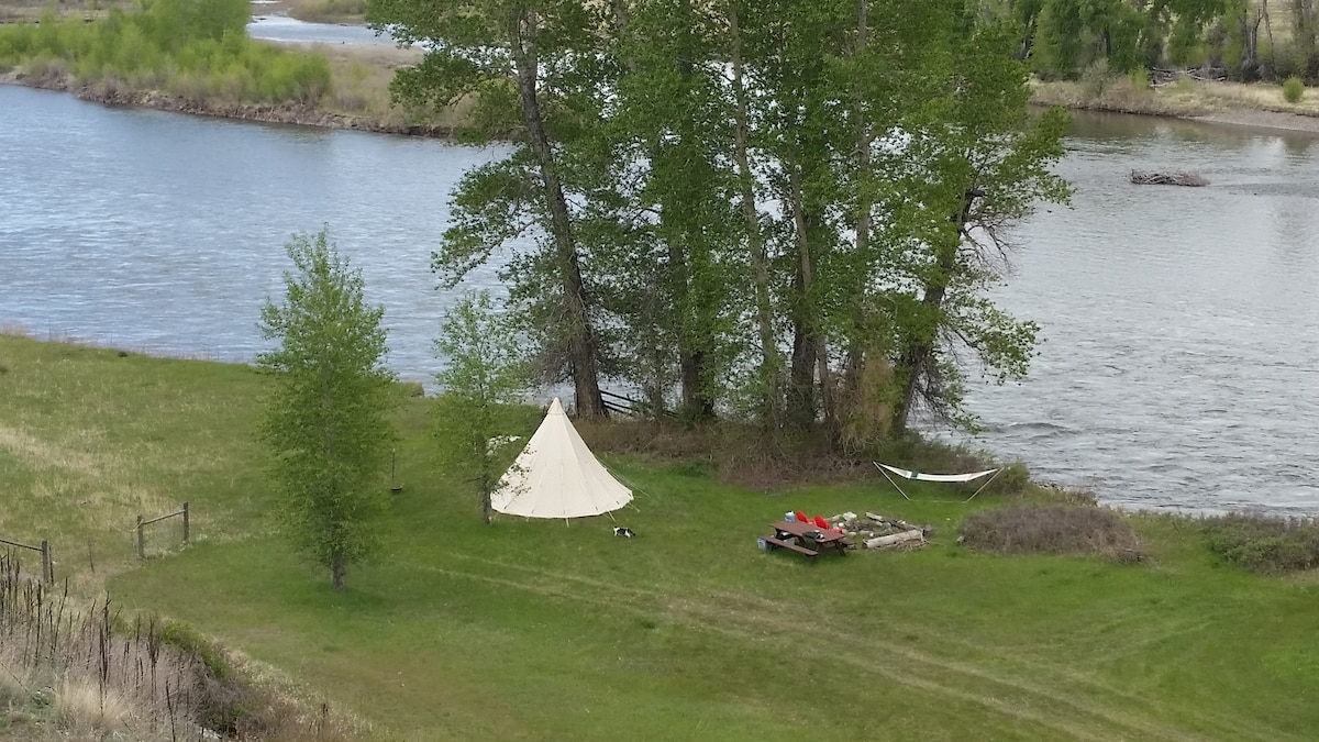 Tipi on the Yellwstone River