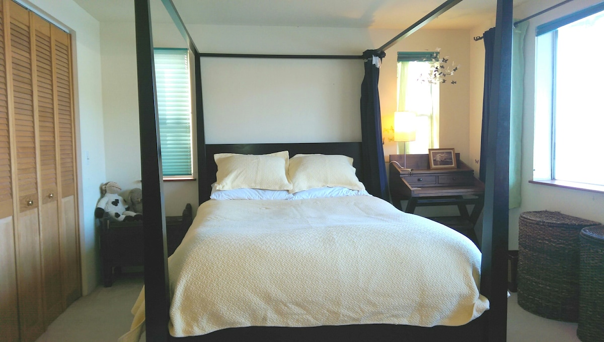 Comfortable queen bed with down duvet in room with water views.