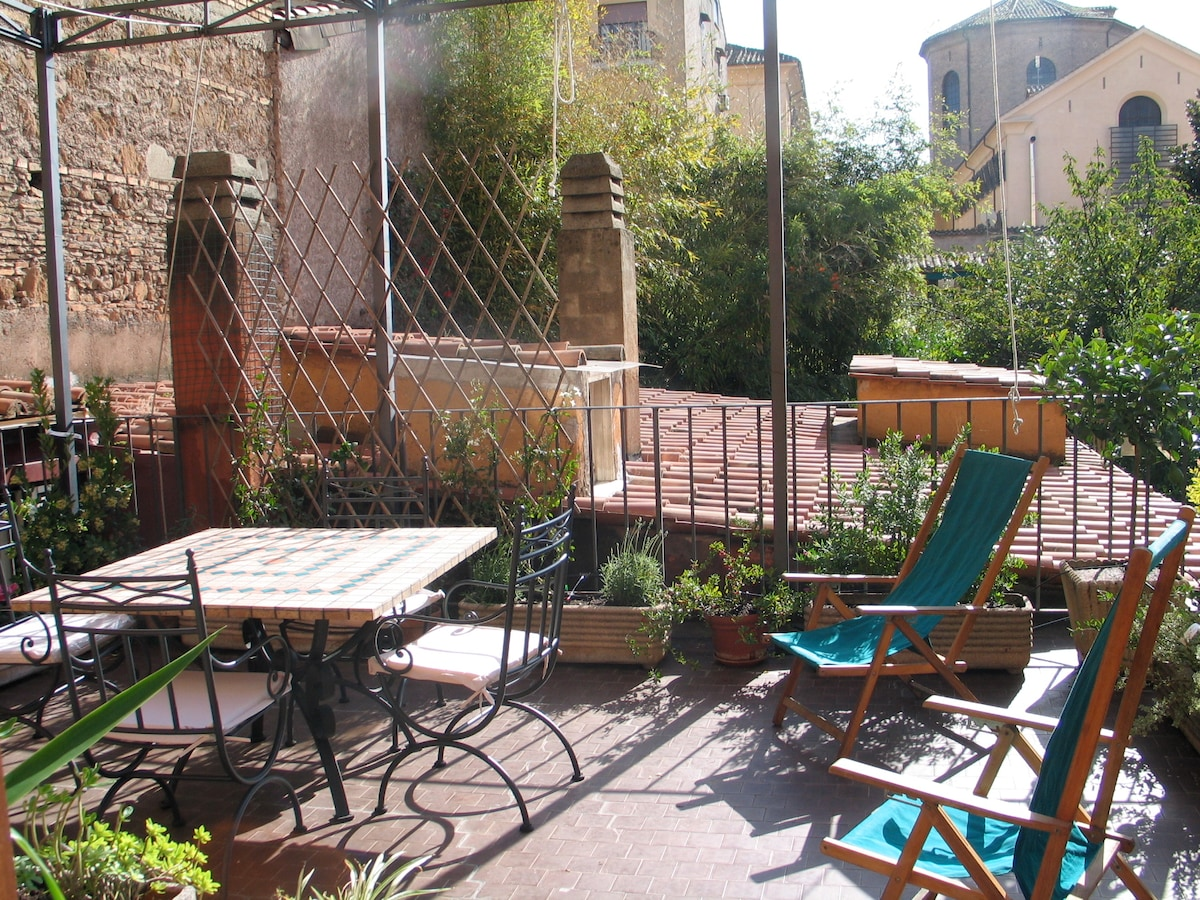 Sunny terrace in historic Rome