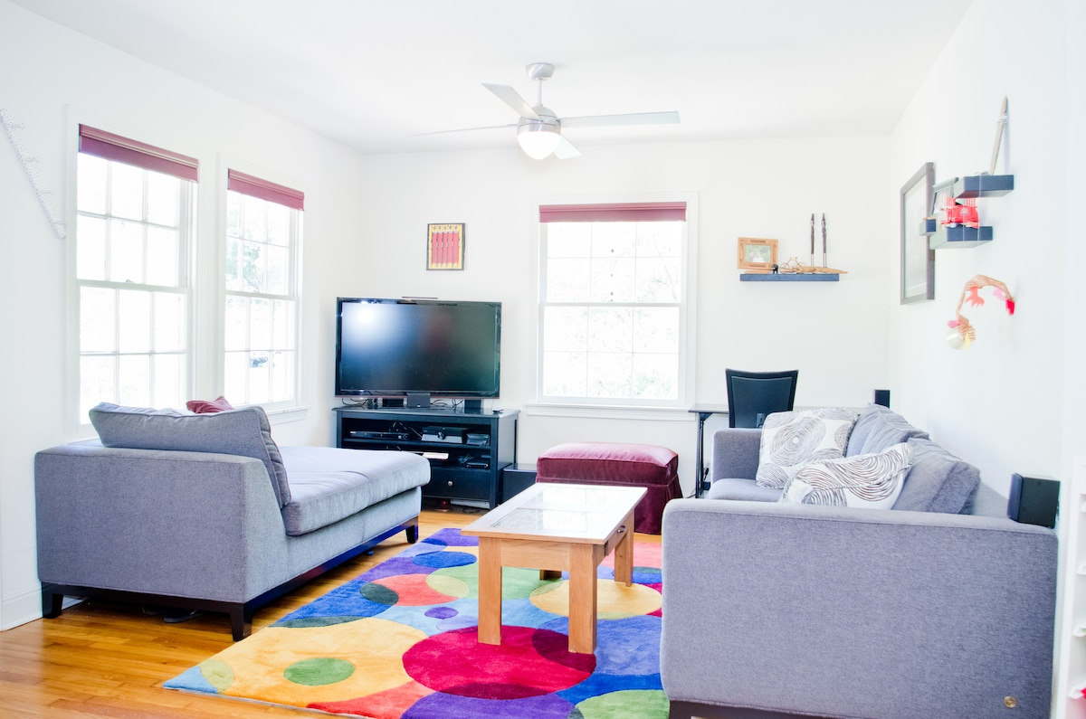 Bright living room with flatscreen TV