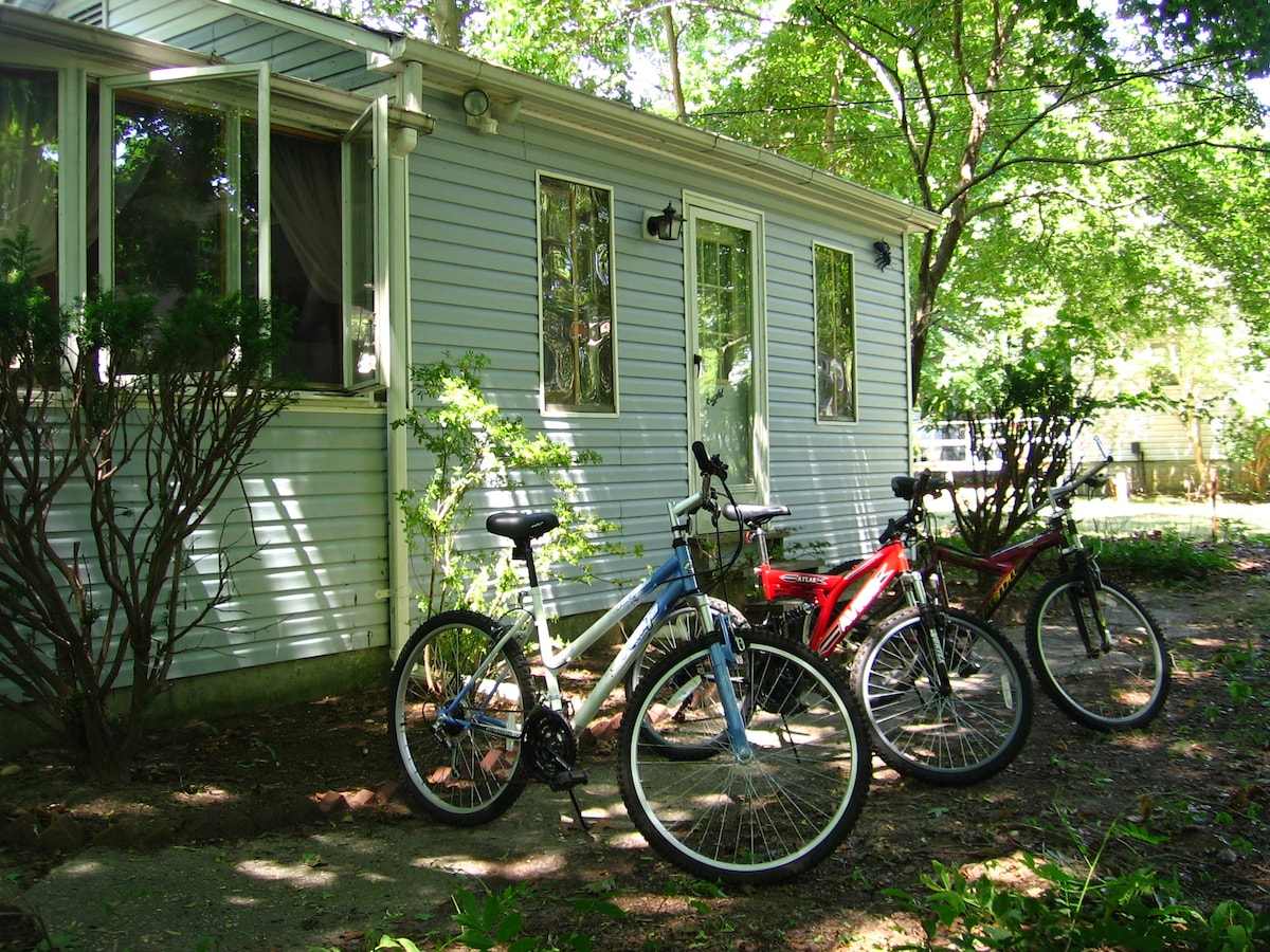 Front of the house on east side, bicycle to rent..