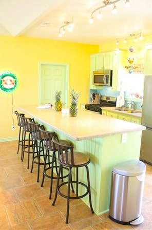 Fully stocked gourmet kitchen with silestone countertops & bar that seats 8