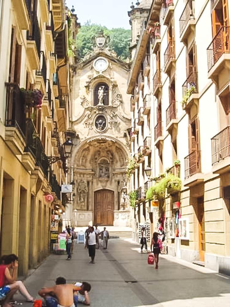 Our street Calle Mayor and Santa María church