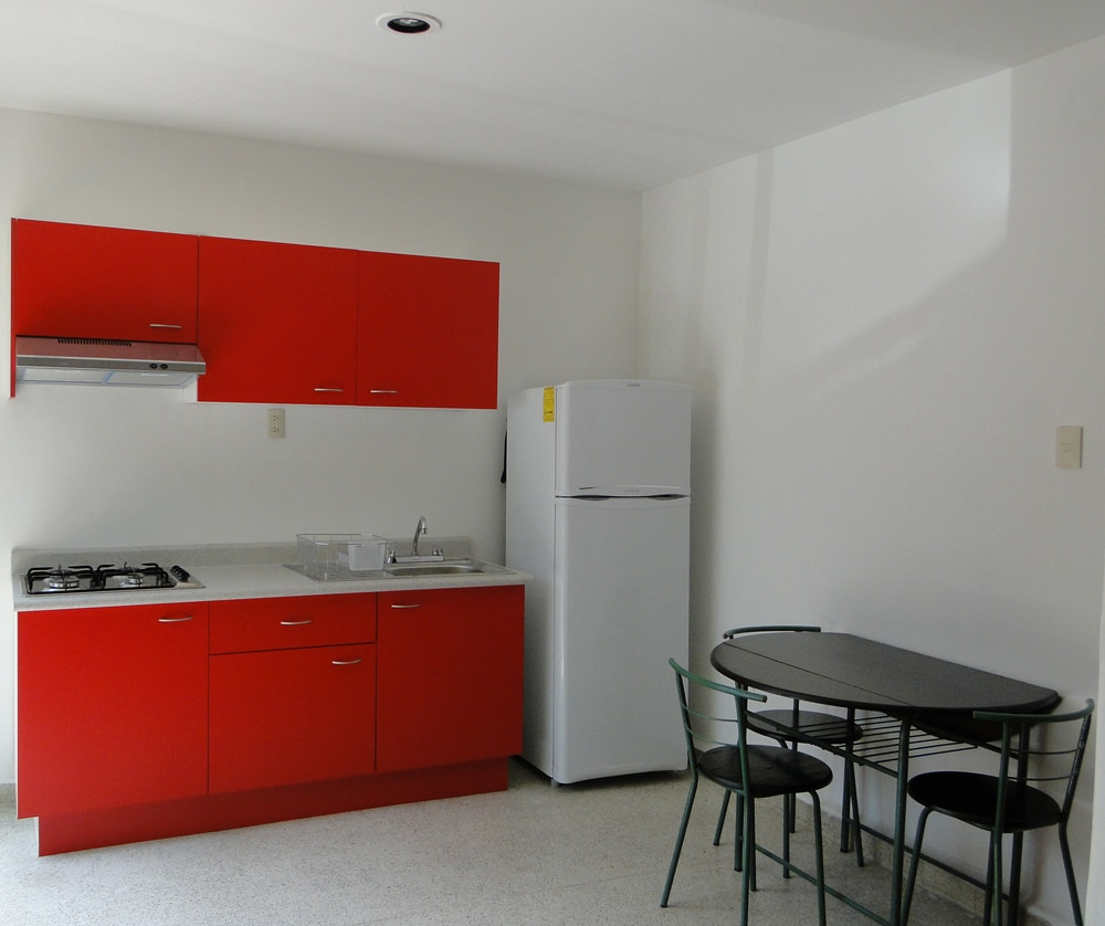 Fully equipped modern kitchen and kitchen table
