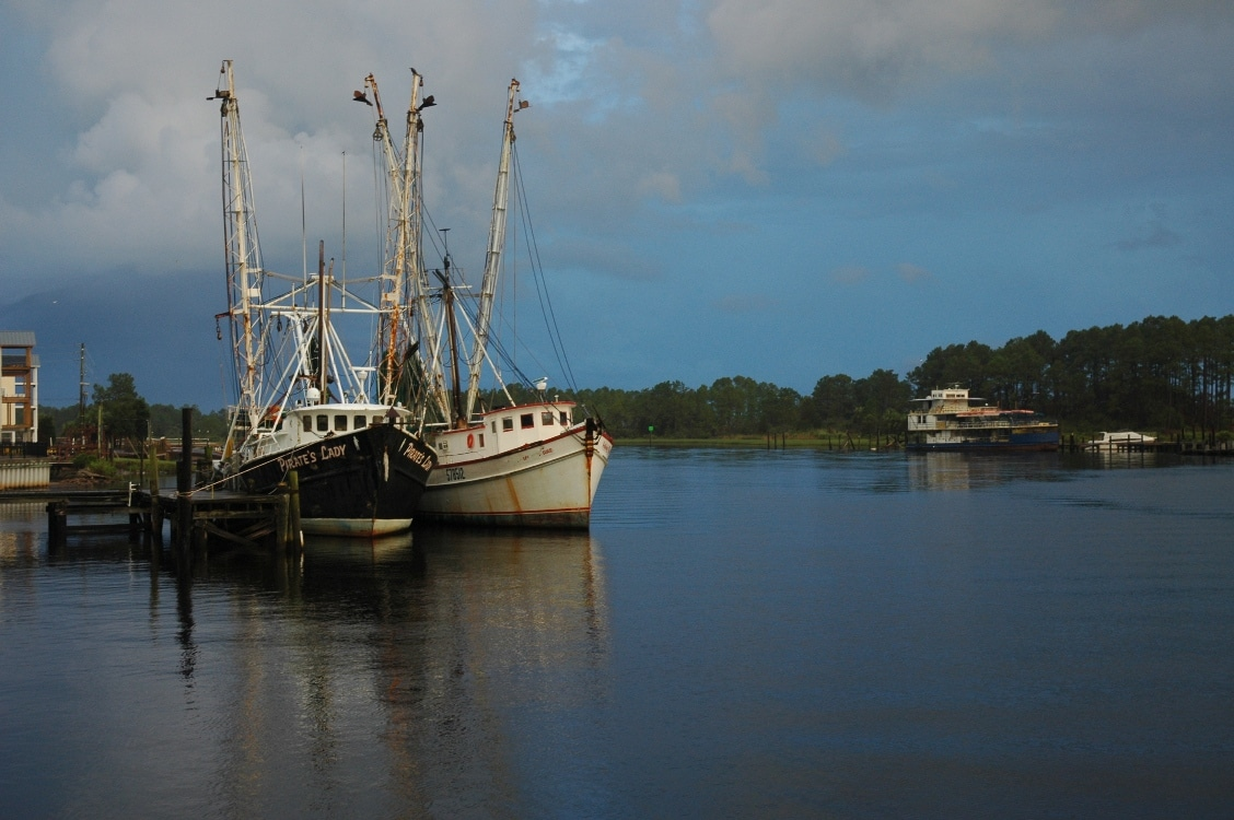 Shrimp boats in the harbor - relics of the heyday of the great maritime fishing days of Carrabelle