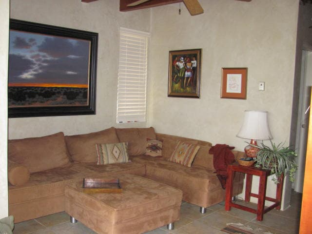 Comfortable seating in TV room.