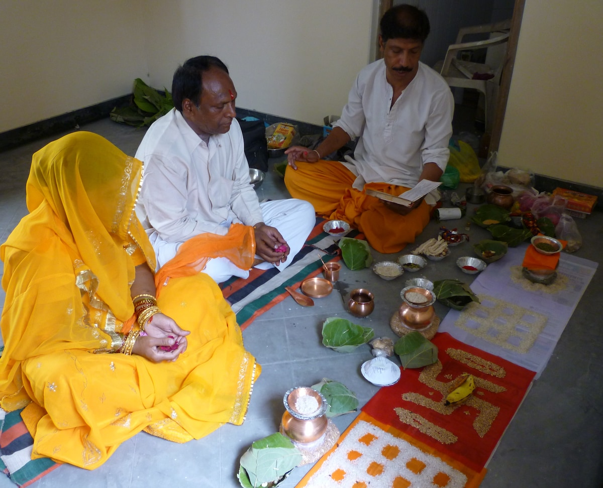 'Grhar Shanti Puja'- rituals to purify and bless the guest rooms.