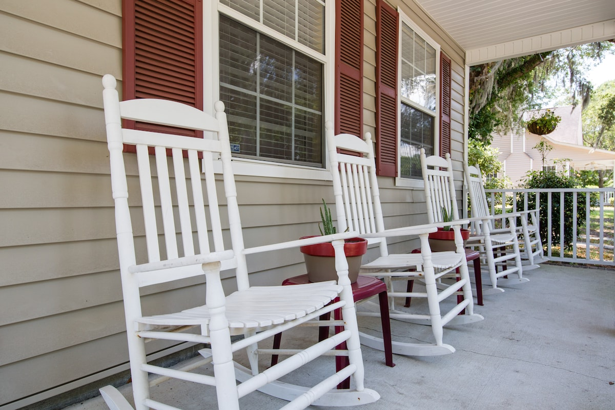Sit and relax in the rocking chairs on the front porch