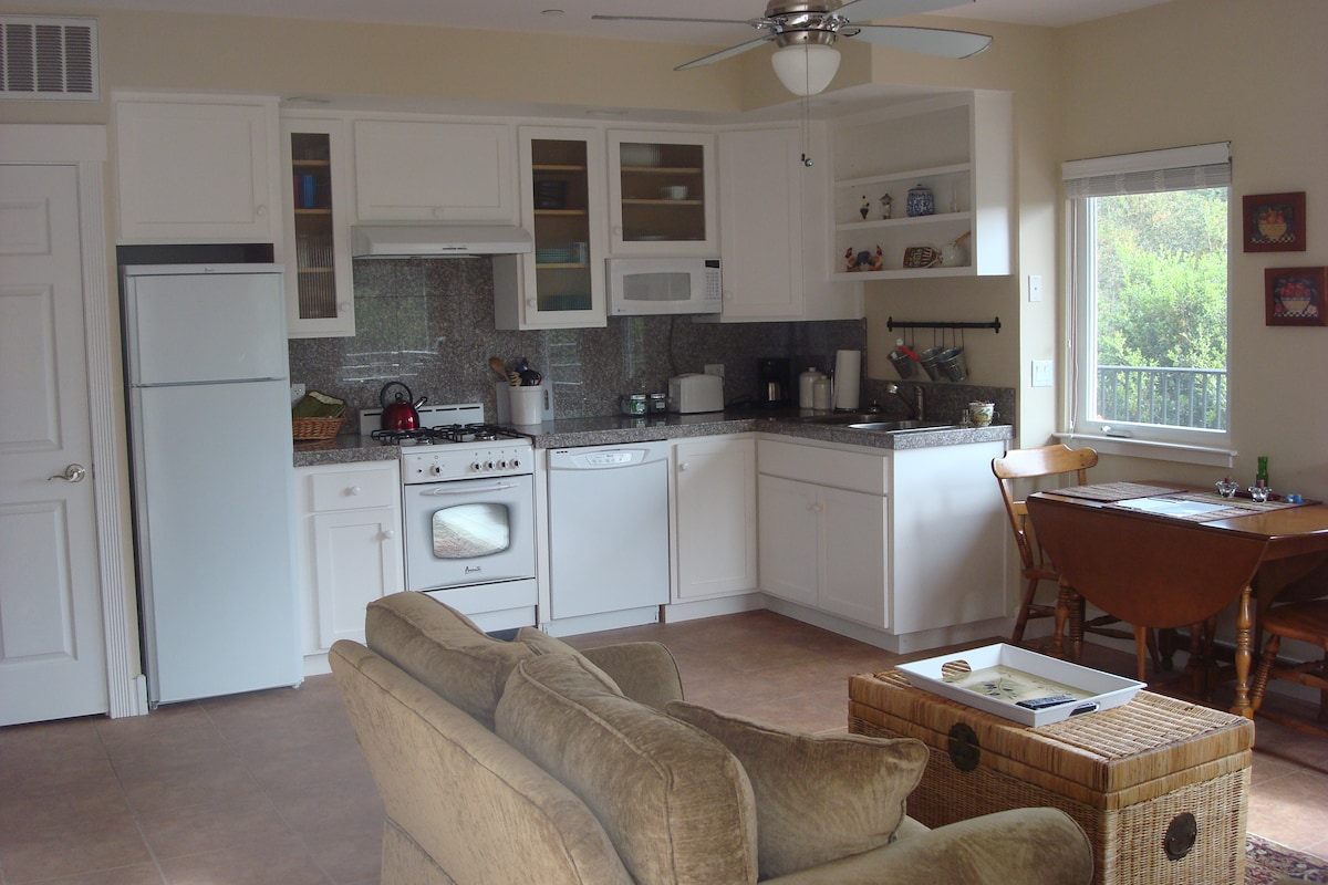 Full kitchen and dining area