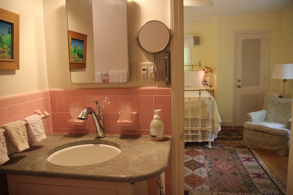 Bathroom view into Queen Bedroom