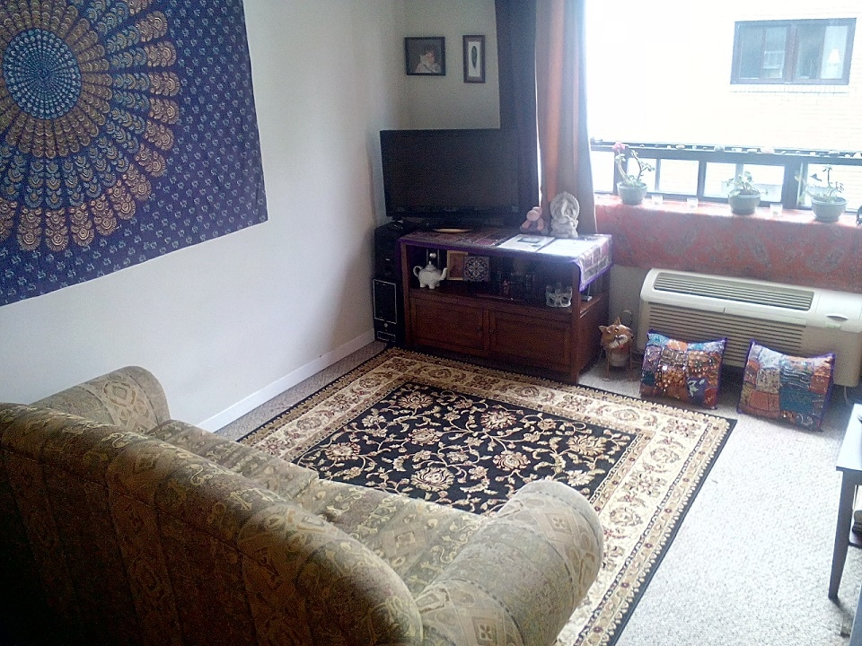 Couch closed up to show spacious room